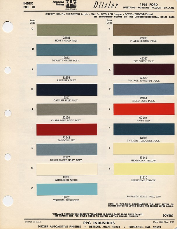 1965 ford mustang color chart with paint mixing codes