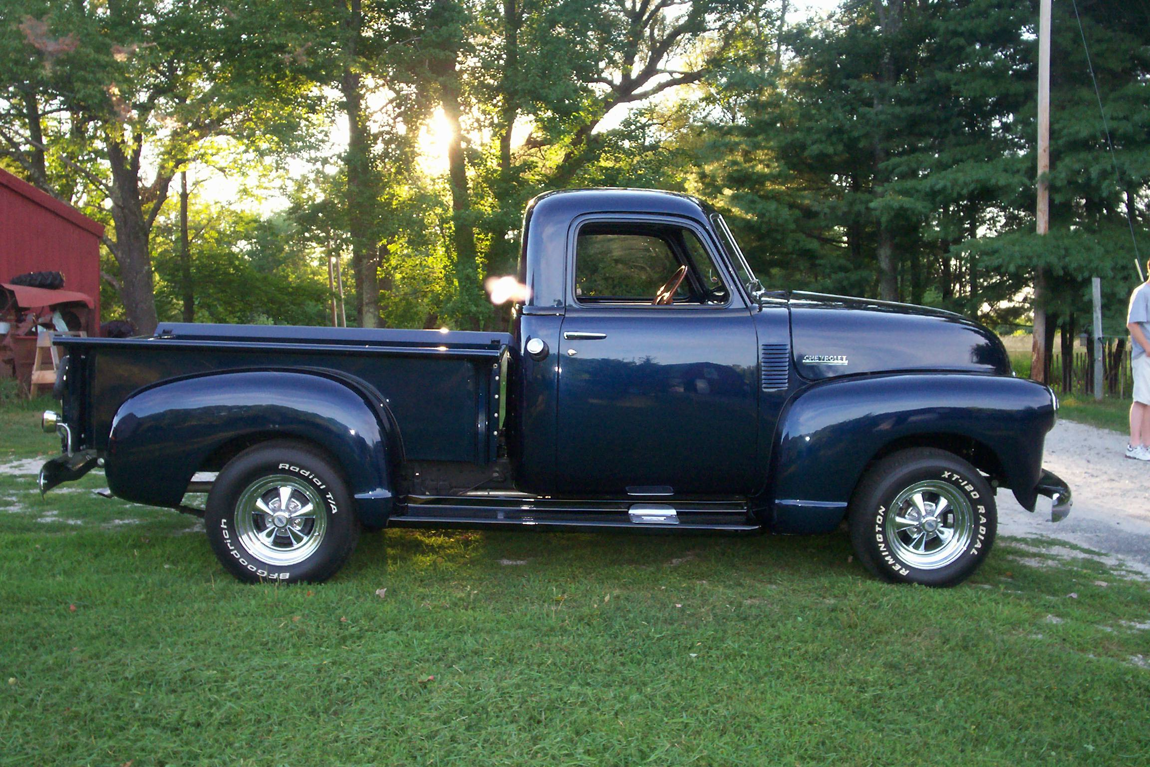 1950 chevy truck completed restoraton blue with belting painted